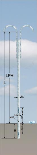 Sadový dekorativní stožár výložníkový DSV