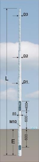 Silniční stožáry bezpaticové JBS s výložníkem - typu SV